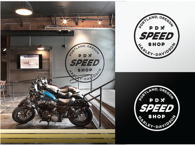 PDX Speed Shop harley-davidson motorcycles icon troy bee vector logo typography branding illustration design