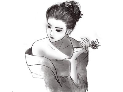 Hair flowers illustration