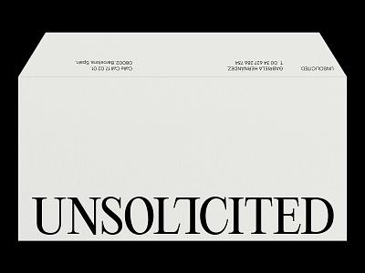 UNSOLICITED – Visual Identity – Envelope. personalbranding blackandwhite minimal neutral artwork logo graphic design typography design branding