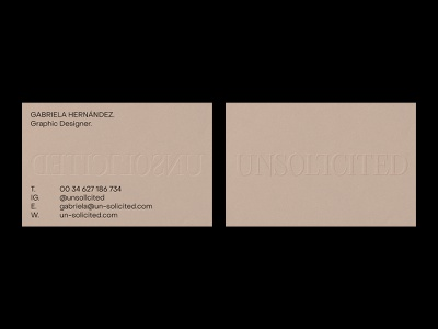 UNSOLICITED – Visual Identity – Business Cards. personalbranding neutral business card minimal artwork logo graphic design typography design branding