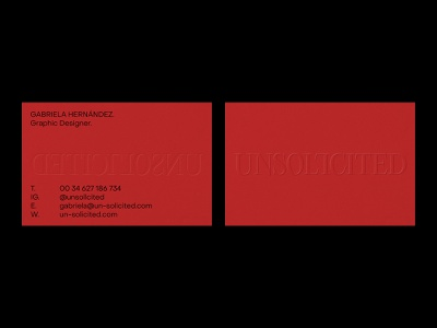 UNSOLICITED – Visual Identity – Business Cards. personalbranding red neutral business card minimal artwork logo graphic design typography design branding