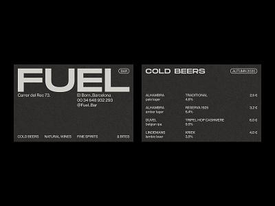 Fuel Bar – Visual Identity. menu business card black and white restaurant branding monochrome minimal graphic design typography branding