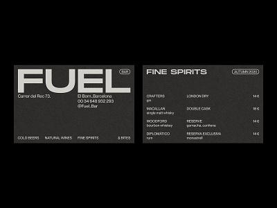 Fuel Bar – Visual Identity. spirits bar menu blackandwhite monochromatic restaurant branding business card artwork graphic design typography branding