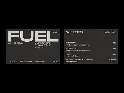 Fuel Bar – Visual Identity. geometric design contemporary design monochrome menu design business card logo design graphic design typography branding