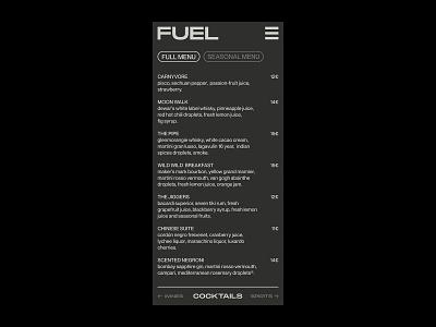 Fuel Bar – Visual Identity. restaurant branding typography graphic design menu bar black and white monochrome menu design mobile menu ui branding