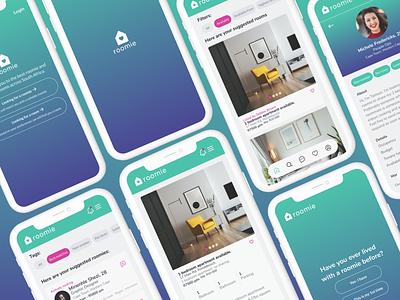Roomie app uxui design figma app app design roommate property room apartment