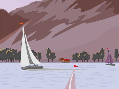 Sails on Lake free vector illustrator illustration design sails lake