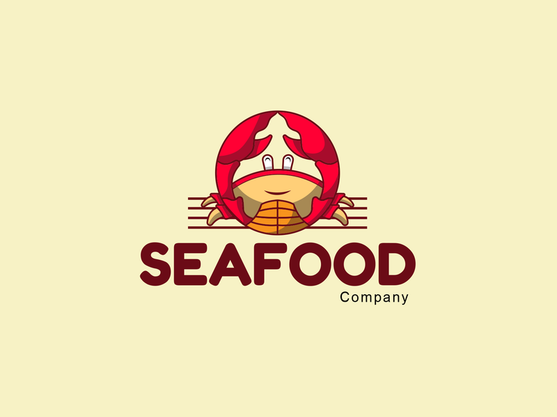 Seafood Crab Mascot Logo shellfish red funny wildlife nature claw crustacean ocean character isolated marine cute animal illustration sea mascot seafood vector cartoon crab