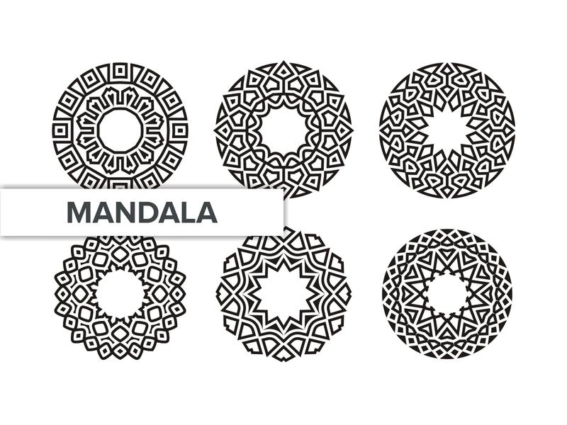 MANDALA SET set template round art motif meditation vintage vector tribal element arabic background floral pattern ornament ethnic decoration flower indian mandala