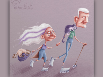 Happy oldies travel pastel style design character design characters character illustrations illustration healthy lifestyle recreation funny skates life cats healthy health happy oldies grandparents