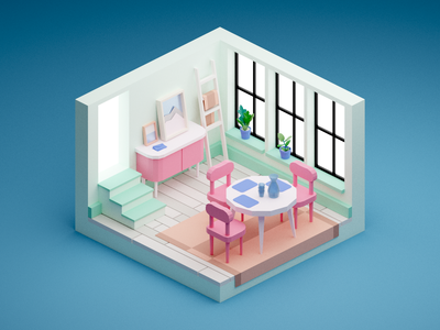Small Dining Room miniature dining room isometric low poly blender illustration 3d