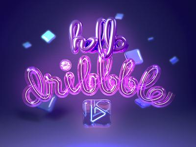Hello Dribble texture neon typogaphy hello dribbble illustration blender 3d