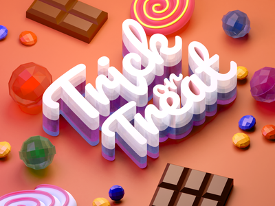 Trick or Treat sweets chocolate candy typogaphy trickortreat halloween isometric low poly illustration blender 3d