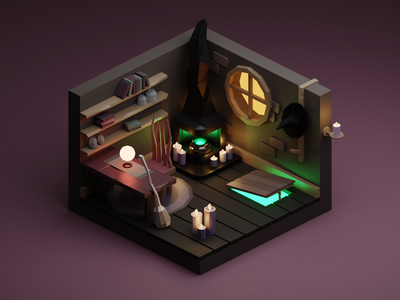 Witch's Room halloween miniature isometric low poly illustration blender 3d