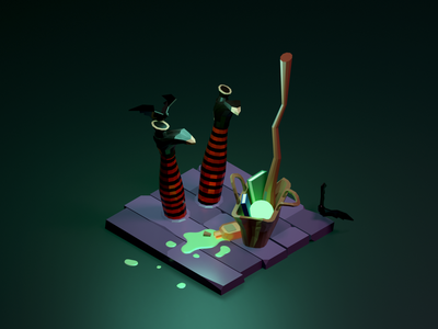 What happened to the witch? magic leg witch halloween isometric low poly illustration blender 3d