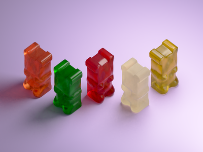Gummy Bears texture gummy bear jelly miniature isometric low poly illustration blender 3d