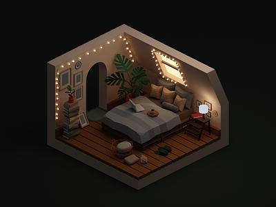 Cozy Bedroom lighting small cozy bedroom miniature isometric low poly illustration blender 3d