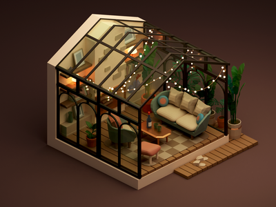 Small Conservatory interior room conservatory miniature isometric low poly illustration blender 3d