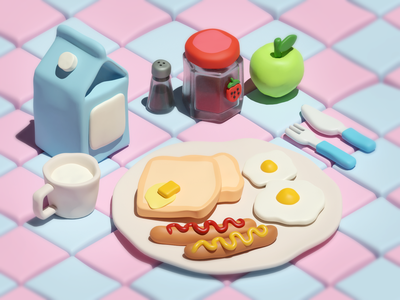 Small Breakfast picnic food breakfast clay texture miniature isometric low poly illustration blender 3d
