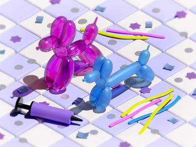 Balloon Puppies party puppy balloon texture miniature isometric illustration blender 3d