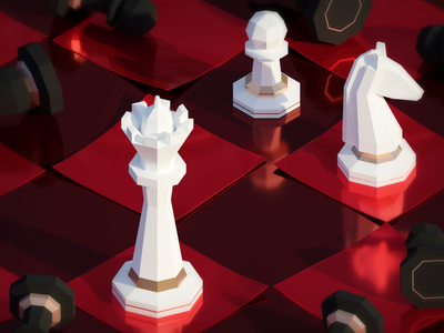 Chess Tournament paper plaster metal chess texture low poly isometric illustration blender 3d