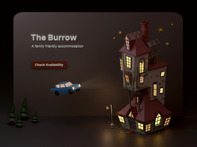 The Burrow accommodation exterior house ron weasley harry potter the burrow website web ui miniature low poly isometric illustration blender 3d