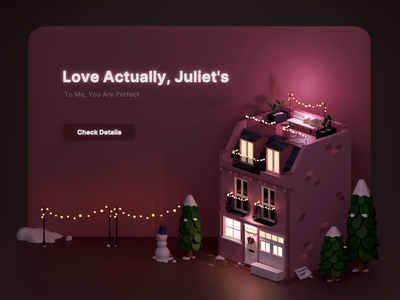 Juliet's House snow christmas juliet love actually house web ui miniature low poly isometric illustration blender 3d