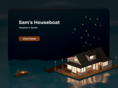 Sam's Houseboat reflection water sea houseboat christmas movie sleepless in seattle web ui accommodation house texture miniature low poly isometric illustration blender 3d