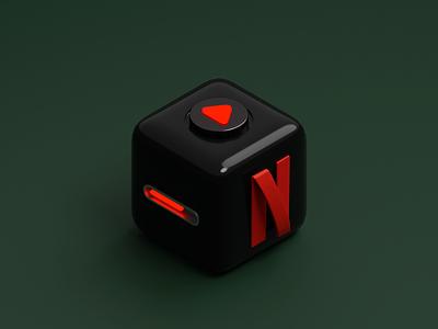 Cube App Icon - Netflix cube netflix mobile icon app icon app isometric blender 3d