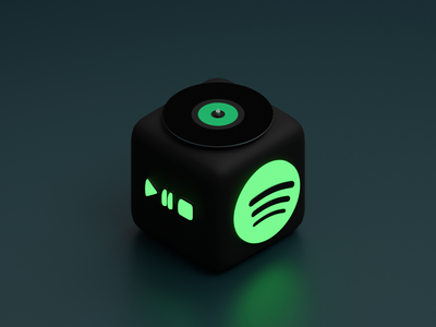 Cube App Icon - Spotify cube spotify mobile icon app icon app isometric blender 3d