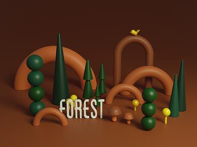 Simple Forest shape structure simple forest miniature illustration blender 3d