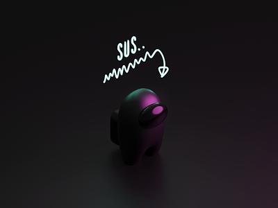 SUS game sus among us amongus character figure isometric illustration blender 3d