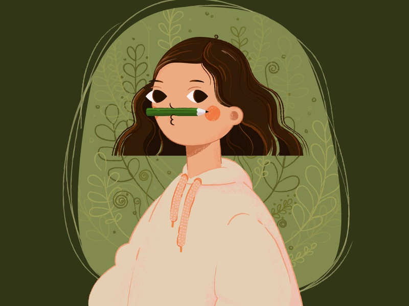 Did you see my mustache? artist vector illustration girl girl character design character cartoon character vector art vector illustration