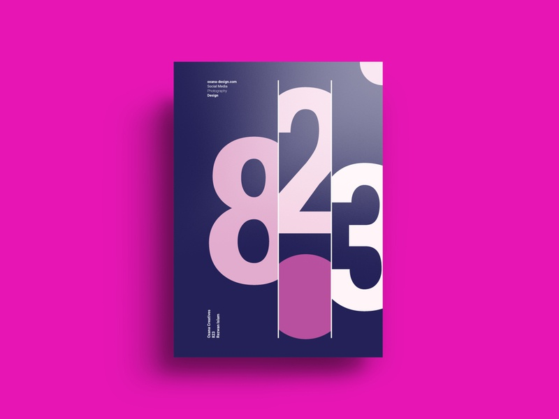 823 A4 Flyer | Oxana Design Studio vector flyer design creative concept minimal clean branding brand identity magazine poster typogaphy abstract a4 flyer