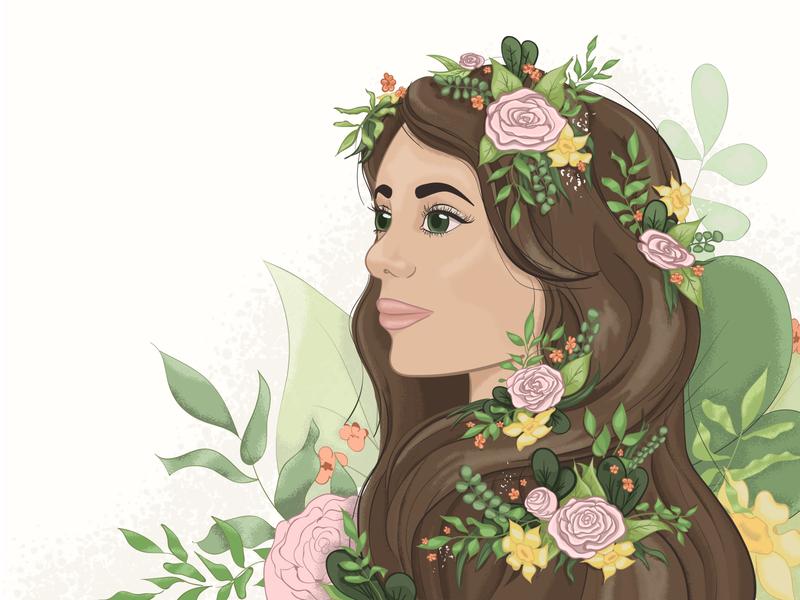 Flowers girls portrait noise flowers vector illustrator