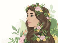 Flowers girls portrait noise flowers vector illustrator