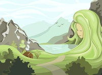 Nature mather lake rock eco nature art nature illustrator