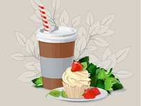 Coffee illustration cake illustrator ai leaves strawberry coffe