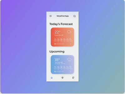 WeatherUI minimal ux vector logo illustration ui mobile app mobile figma design weather app