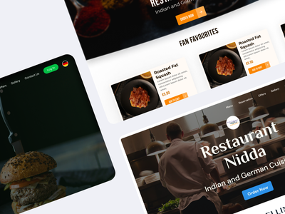 Hero Section - Landing Page restaurant food delivery typography ux branding design ui