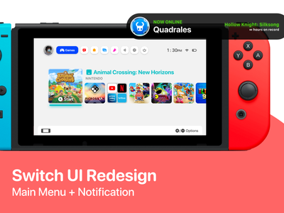Switch UI Redesign | Main Menu + Notif. popup notification ui design animation nintendo adobe design redesign ui switch
