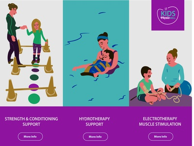 Illustrations for children physio services typography web ui logo branding vector graphic design design illustrator illustration