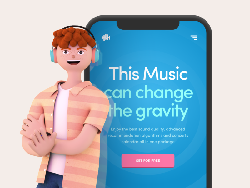 3D Character for a Music Streaming Provider Website shape geometric bright colors ilustrator character 3d model zajno 3d character cinema4d c4d 3d