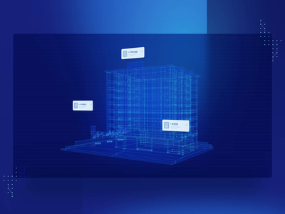 Animated 3D Visual for JoyHub grid binary code neon letting apartment management business data visualization technology data-driven automation house renting rent 3d visual animated animation c4d design
