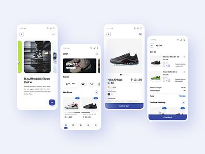 Shoes Online Shopping uiux ux uidesign ui design ui product design mobile minimal interface graphic design flat ecommerce dribbble design concept clean branding blue app shoe