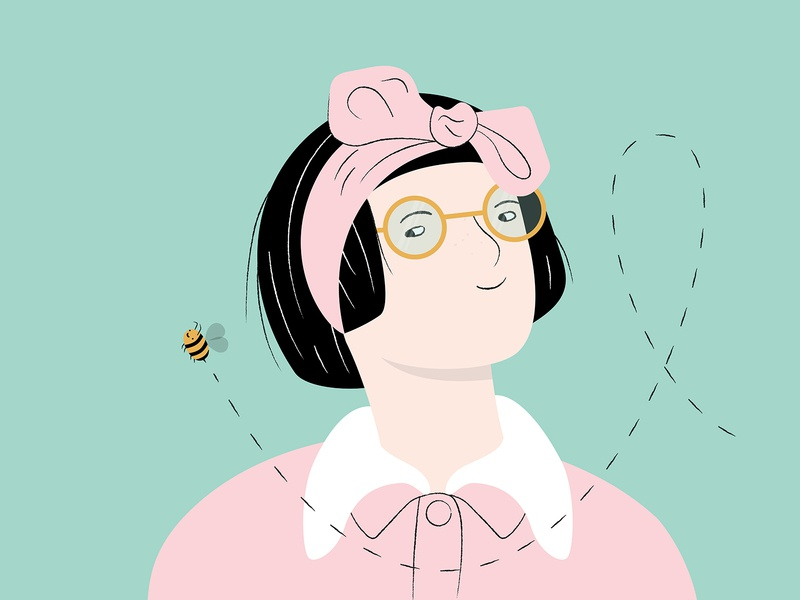 Fun with faces woman illustration design glasses honey bee illustration digitalportrait illustrator woman illustration illustration art adobe illustrator adobe