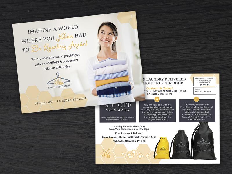 EDDM® Postcard Design eddm postcard business flyer business flyer design postcards bee coupon laundry postcard design direct mail business quote yellow mailer eddm postcard graphic design branding typography design