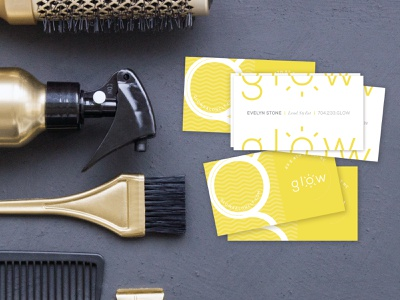 Logo & Business Card Design grays yellow glow stylist coloroftheyear pantone2021 pantone hair marketing vector mark graphic design business card logo design identity branding typography logo design