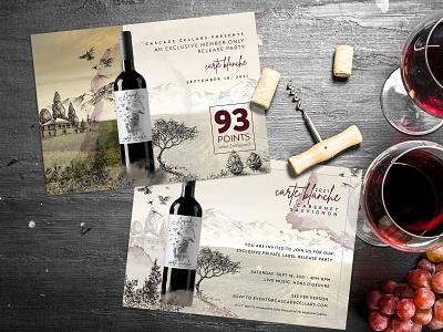 Cascade Cellars Invite bottle composite photo illustration luxury exclusive party flyer postcard invitation invite wine photoshop identity branding logo typography design