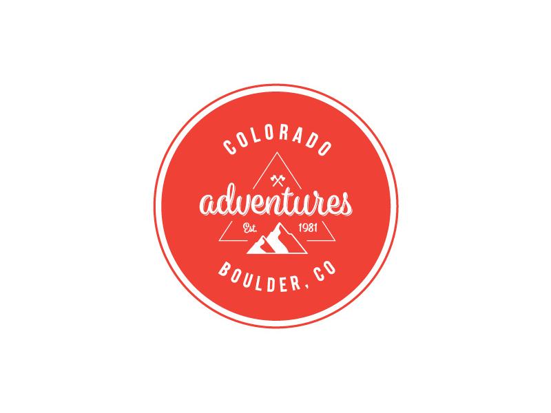 Colorado Adventures Logo shape line circle adventure mountain red typography modern mark icon brand logo